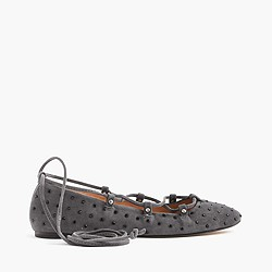 Studded suede lace-up ballet flats