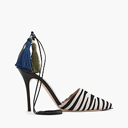 Collection Roxie zebra calf hair ankle-tie pumps