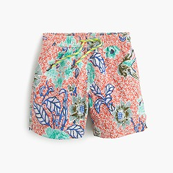 Boys' swim trunk in bright botanical