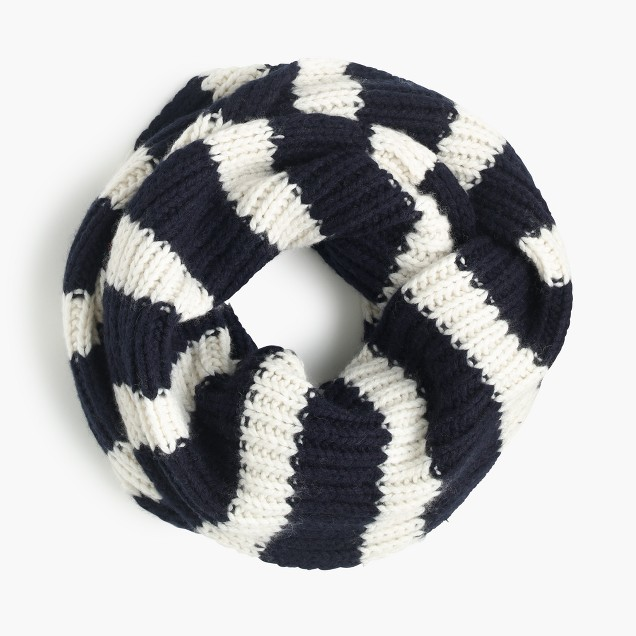 Ribbed infinity scarf in stripe