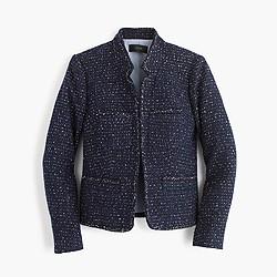 Tall metallic tweed jacket with front pockets