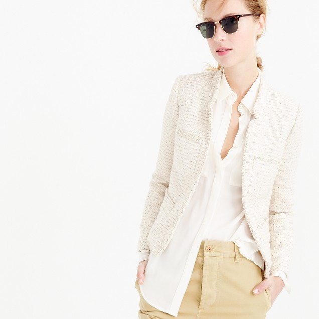 Metallic tweed jacket with front pockets