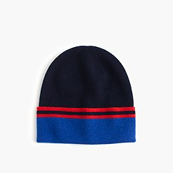 Kids' striped cashmere beanie