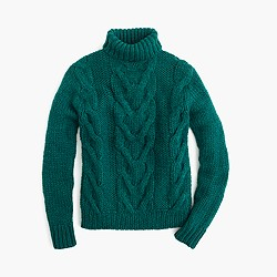Italian wool cable turtleneck sweater