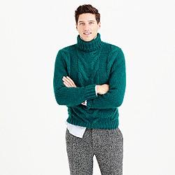 Italian wool cable turtleneck sweater