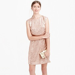 Petite cap-sleeve sequin dress