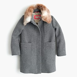Girls' stadium-cloth faux-fur-collar coat