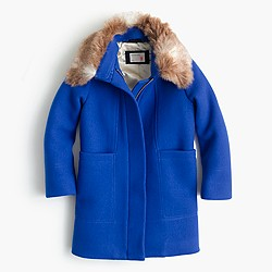 Girls' stadium-cloth faux-fur-collar coat