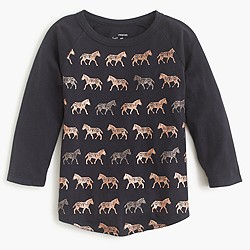 Girls' metallic galloping zebras T-shirt