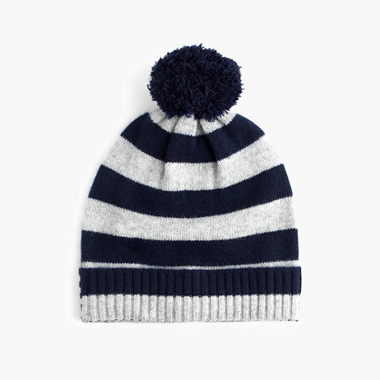 Girls' cashmere striped beanie with pom-pom
