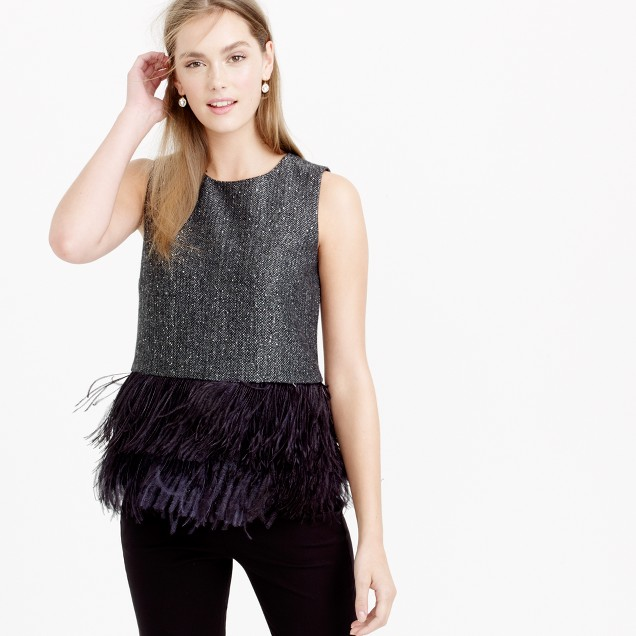 Collection Donegal wool top with ostrich feathers