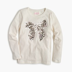 Girls' sequin bow long-sleeve T-shirt