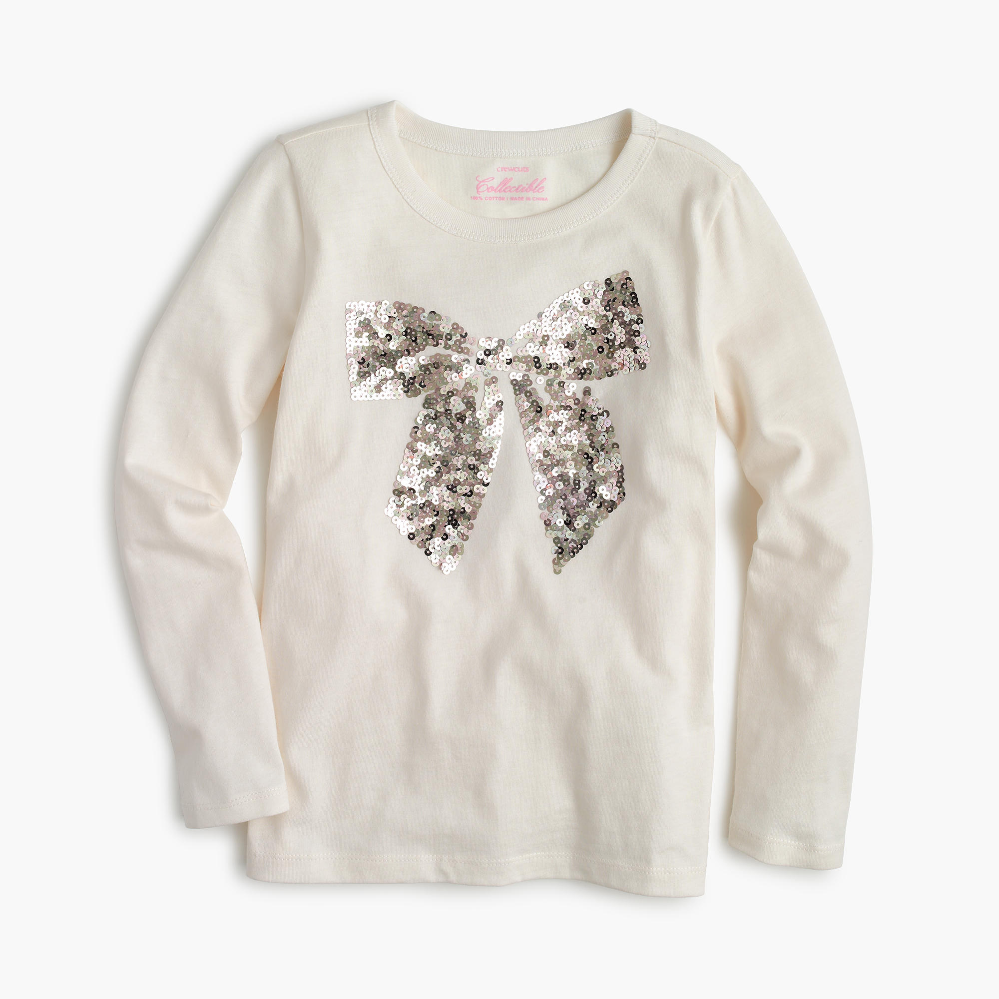 Girls 39 sequin bow long sleeve t shirt j crew for Girls sequin t shirt