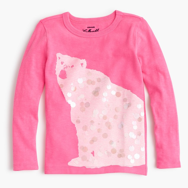Girls 39 sequin polar bear t shirt j crew for Girls sequin t shirt