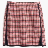 Double-notch mini skirt in red houndstooth plaid
