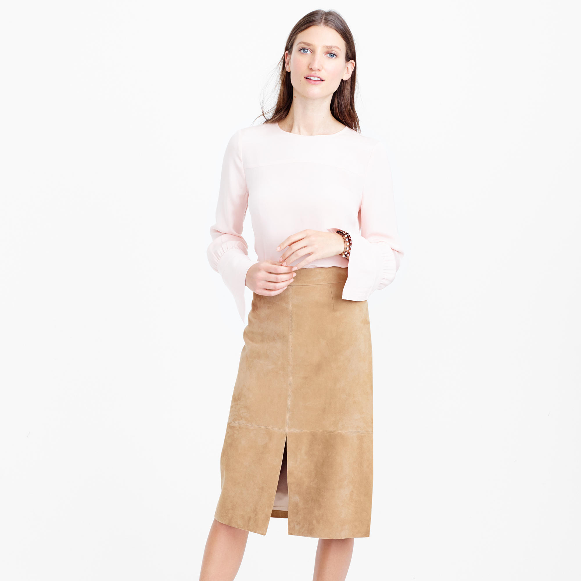 Collection A-line midi skirt in suede : Women j.crew collection ...