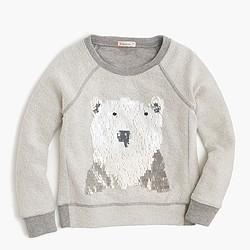 Girls' polar bear sparkle fleece sweatshirt