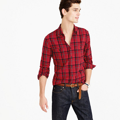 Midweight flannel shirt in holiday red plaid flannel j for Womens christmas flannel shirt