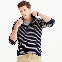 Cotton-cashmere striped henley hoodie