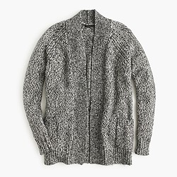 Marled raglan open cardigan sweater