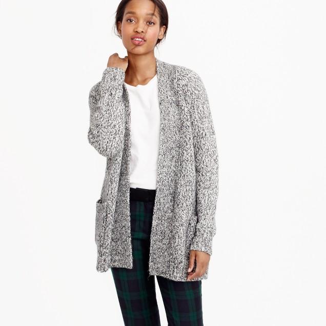 Marled raglan open cardigan sweater