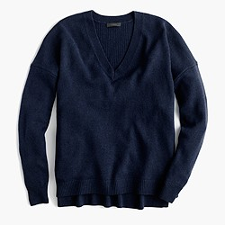 Petite V-neck tunic sweater