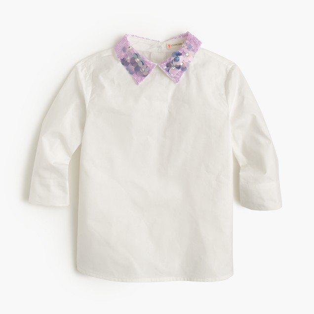 Girls' sequined-collar reverse-button-down shirt