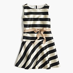 Girls' striped dress with ribbon