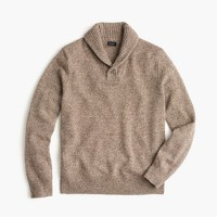 Marled lambswool shawl-collar sweater