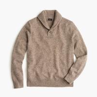 Marled lambswool shawl-collar sweater