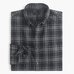 Slim Secret Wash shirt in heather black plaid