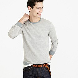 Slim merino wool sweater in block stripe