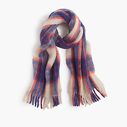 Brushed Italian wool scarf in vibrant plaid