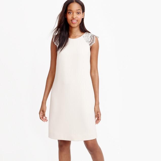 Tall edged lace cap-sleeve dress