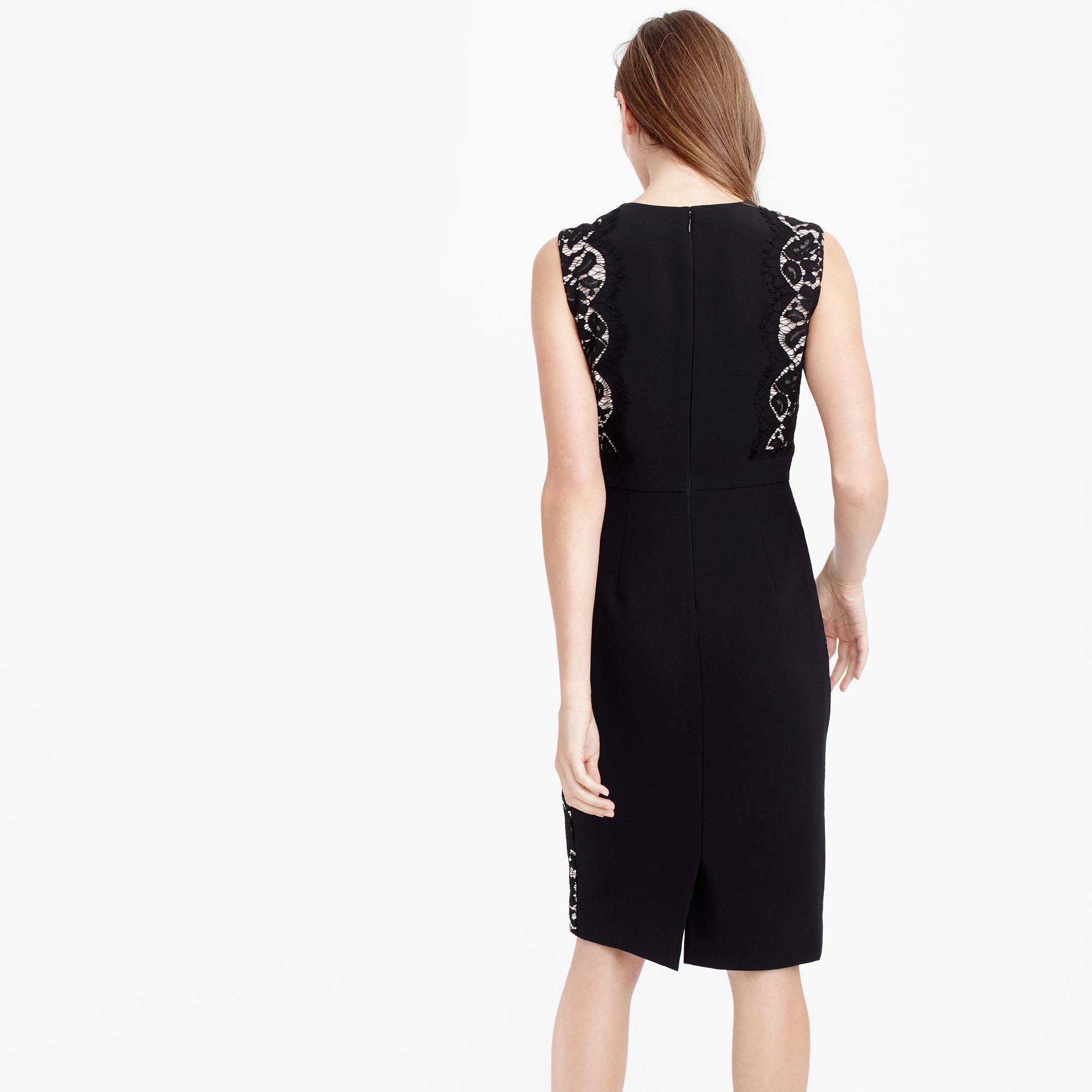 Black dress j crew -  Petite Lace Panel Dress