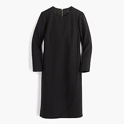 Petite overlapped long-sleeve shift dress