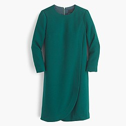 Overlapped long-sleeve shift dress