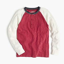 Boys' cotton henley with striped neck