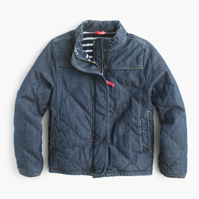 Girls' quilted chambray jacket