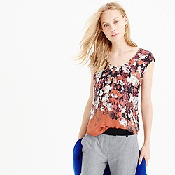 Collection cap-sleeve shirttail blouse in autumn floral