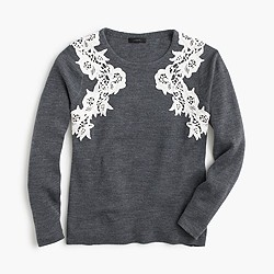Lace appliqué sweater