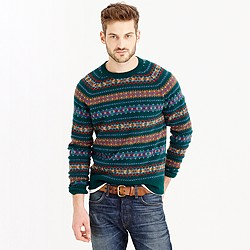 Lambswool Fair Isle sweater in forest