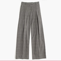 Petite wide-leg pant in glen plaid wool