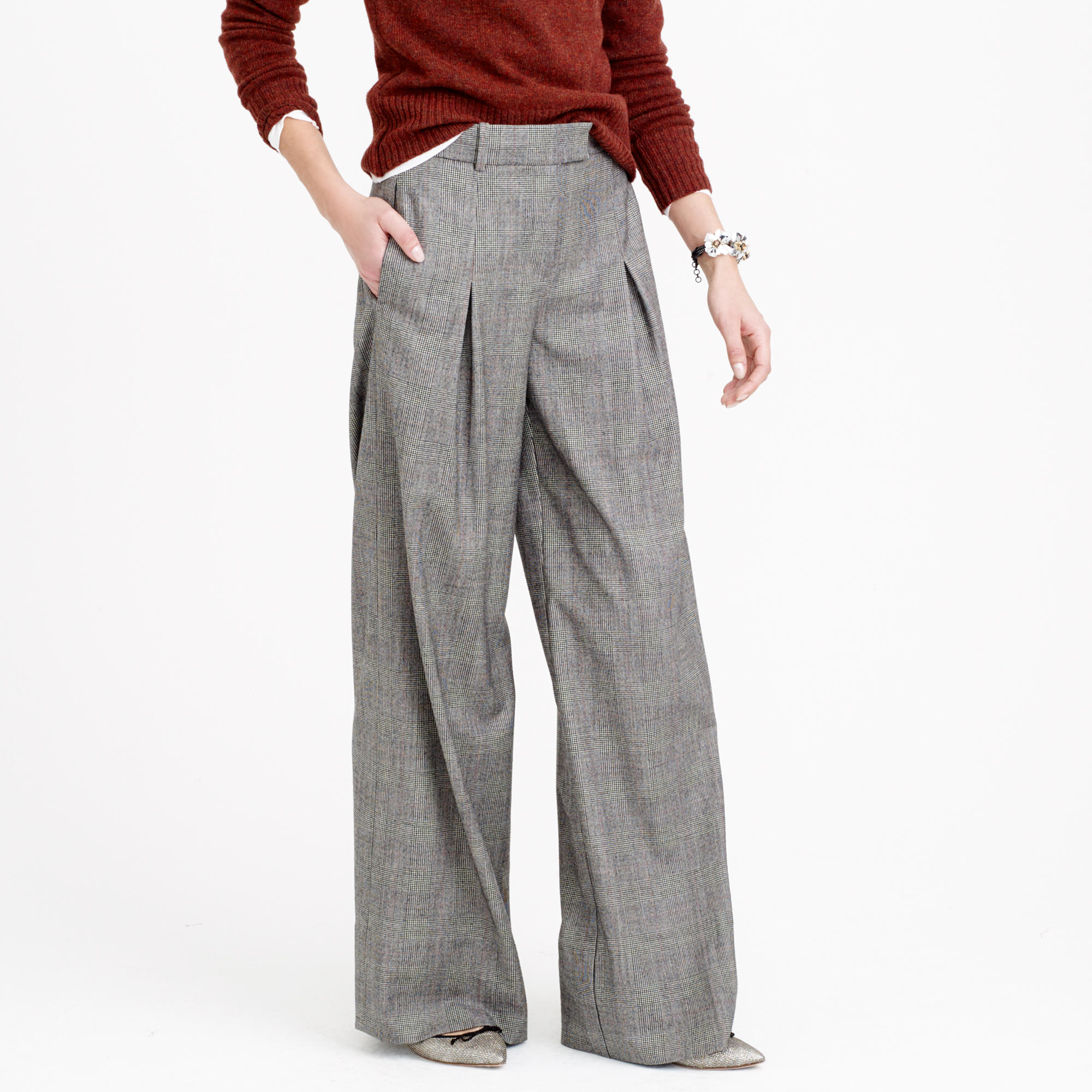 Petite wide-leg pant in glen plaid wool : Women pants | J.Crew