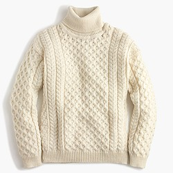 Aran Crafts™ wool cable turtleneck sweater
