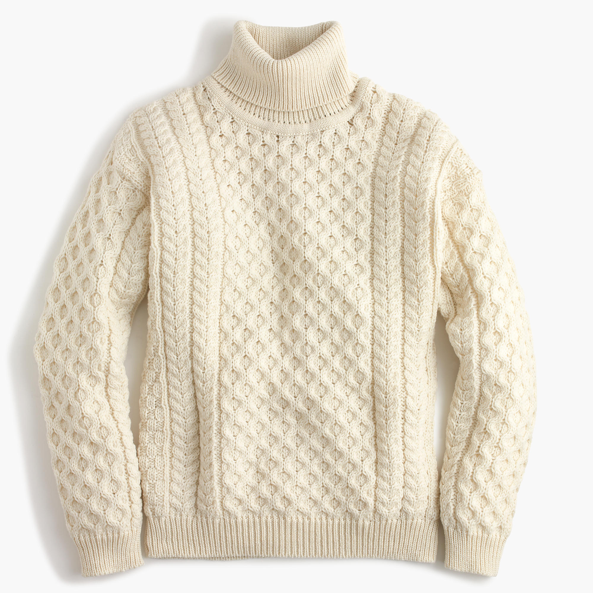 Aran crafts wool cable turtleneck sweater j crew for Aran crafts fisherman sweater