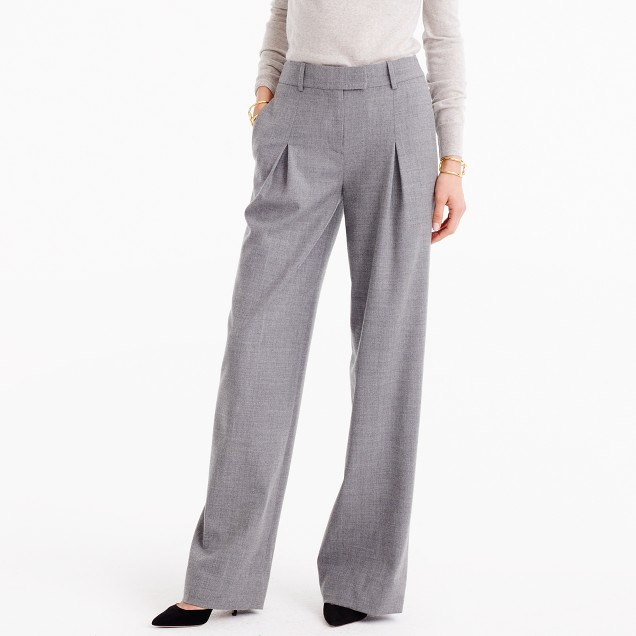 Petite wide-leg pant in wool