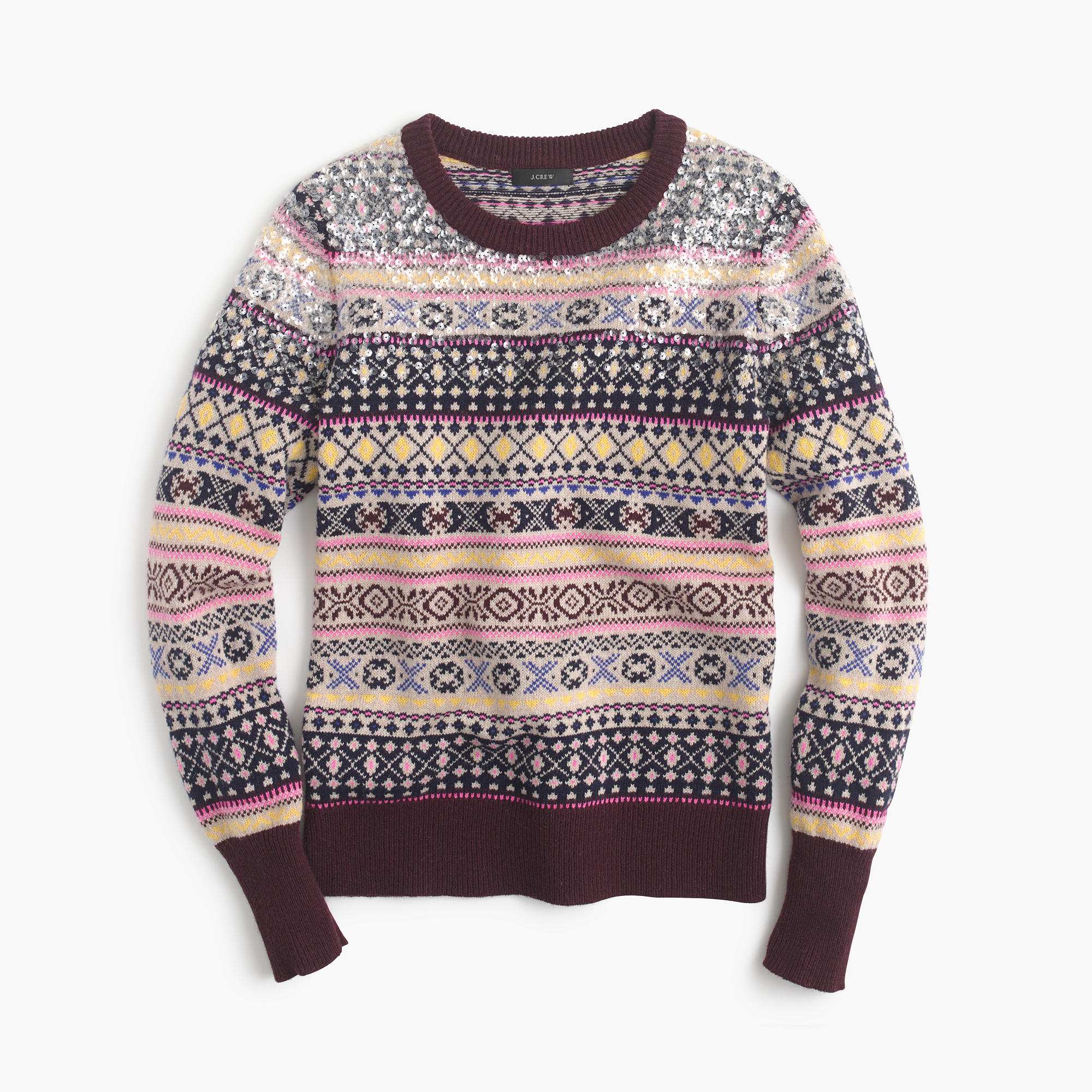 Sequin Fair Isle sweater : | J.Crew