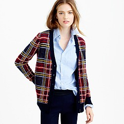 Brushed wool-blend plaid cardigan sweater