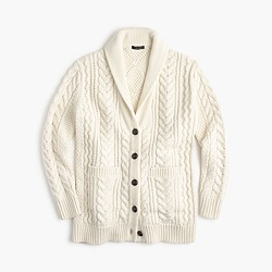 Shawl-collar long cable cardigan sweater